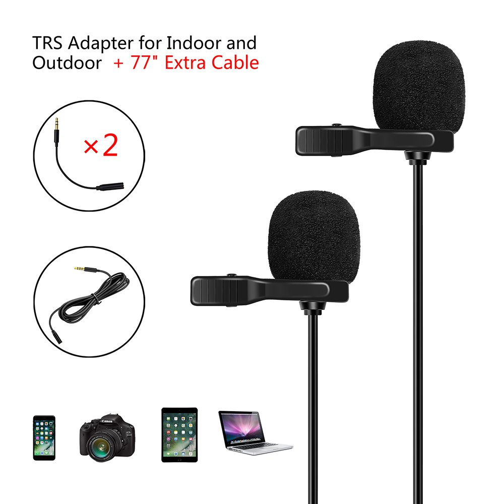 Dual Lavalier Lapel Microphone, Omnidirectional Condenser Lapel Hand-free microphone for Cameras and Computers, Compatible with Apple phones, iPad, iPod touch, Samsung and Windows etc.