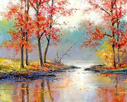 Amazon Com Fall Scene Art Print Of Watercolor Painting