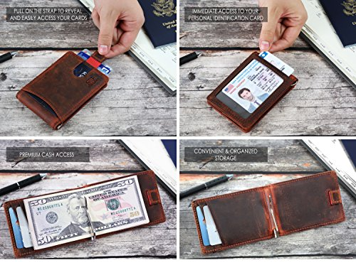 Travel Wallet RFID Blocking Bifold Slim Genuine Leather Thin Minimalist Front Pocket Mens Wallets with Money Clip - Made From Full Grain Leather (Canyon Red 1.S)