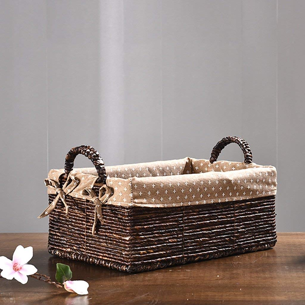 Home DecorAddition Diaper Toy Hamper The Storage Basket Rattan Desk Box Storage Box Cosmetics Box Finishing Kitchen Debris Basket Weaving (Size : 34 22 14cm) (Size : 382616cm)