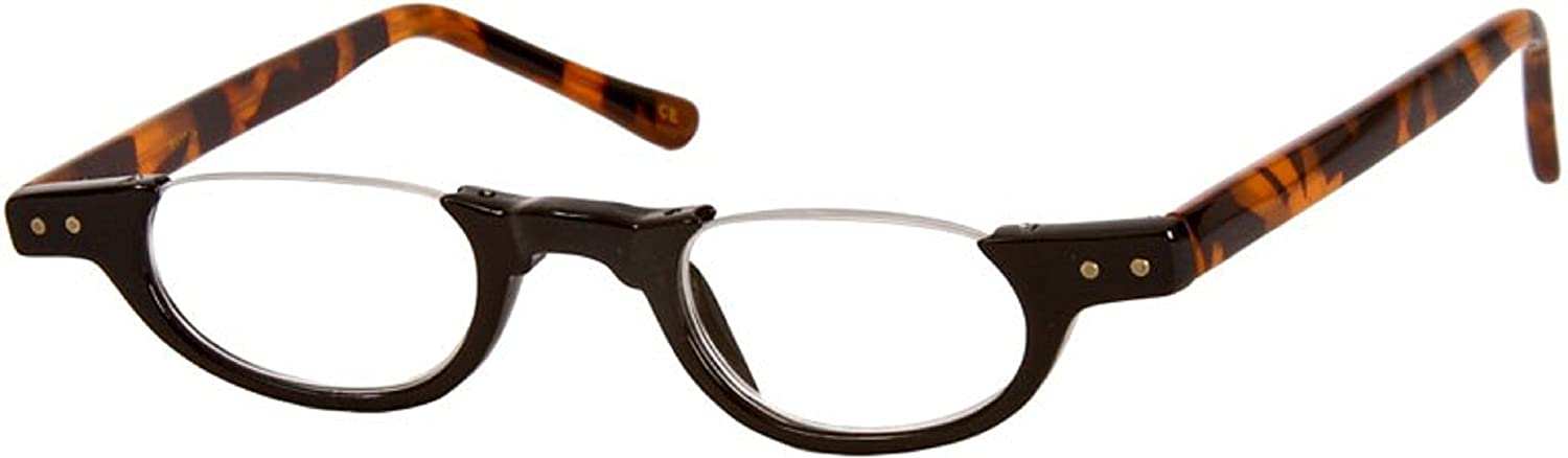6162b4df53c9 Amazon.com  The Hunter Colorful Retro Half Under Frame Rimless Round  Vintage Reading Glasses +1.25 Black and Tortoise (Carrying Case Included)   Health ...