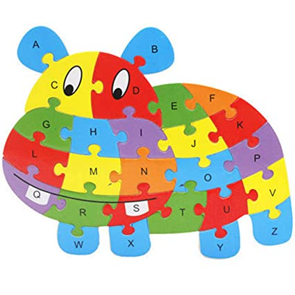 ellaroom Notable 26 Patterns Wooden Animal Alphabet Early Learning Puzzle Jigsaw for Kids Baby Educational Learing Intelligent Toys High(None Color)