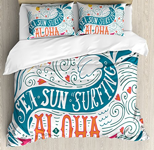 Hawaiian Queen Size Duvet Cover Set by Ambesonne, Sea Sun Surfing Typography with Ocean Waves Aloha Tropical Print, Decorative 3 Piece Bedding Set with 2 Pillow Shams, Petrol Blue Orange Pink by Ambesonne
