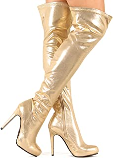 Amazon.com | Sparkling Gold Thigh High Platform Boots with Double