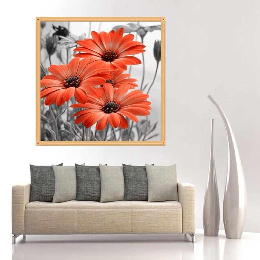 BLUE TiTCool 5D Diamond Painting Kit Color Chrysanthemum 35X35CM Drill Rhinestone Pasted Craft DIY Home Decorative
