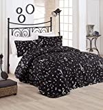 LaModaHome Luxury Soft Colored Bedroom Bedding 65% Cotton 35% Polyester Quilted Cover (Padded) 100% Fiber Filling Note Music Lifestyle Art Dance Black and White