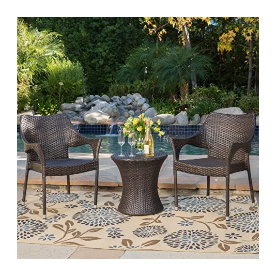"""Tahitian Patio Furniture ~ 3 Piece Outdoor Wicker Stacking Chair Conversation (Chat) Set (Brown) - Includes: Two (2) Outdoor Wicker Chairs and One (1) Outdoor Wicker Side Table Chair Dimensions: 24.00""""D x 24.00""""W x 32.75""""H Color: Multi-brown - patio-furniture, patio, conversation-sets - 61U1t9IiTTL. SS570  -"""