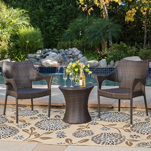 Tahitian Patio Furniture ~ 3 Piece Outdoor Wicker Stacking Chair Conversation (Chat) Set (Brown)