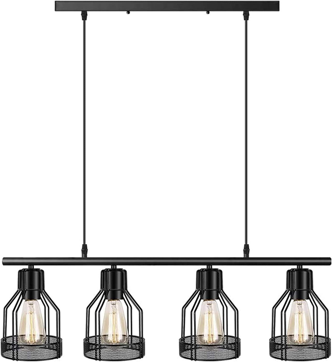 4 Light Pendant Lighting Kitchen Island Light Fixture With Paint Finish Cage Lampshade Modern Industrial Chandelier