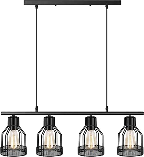 Amazon Com 4 Light Pendant Lighting Kitchen Island Light Fixture With Paint Finish Cage Lampshade Modern Industrial Chandelier Home Improvement