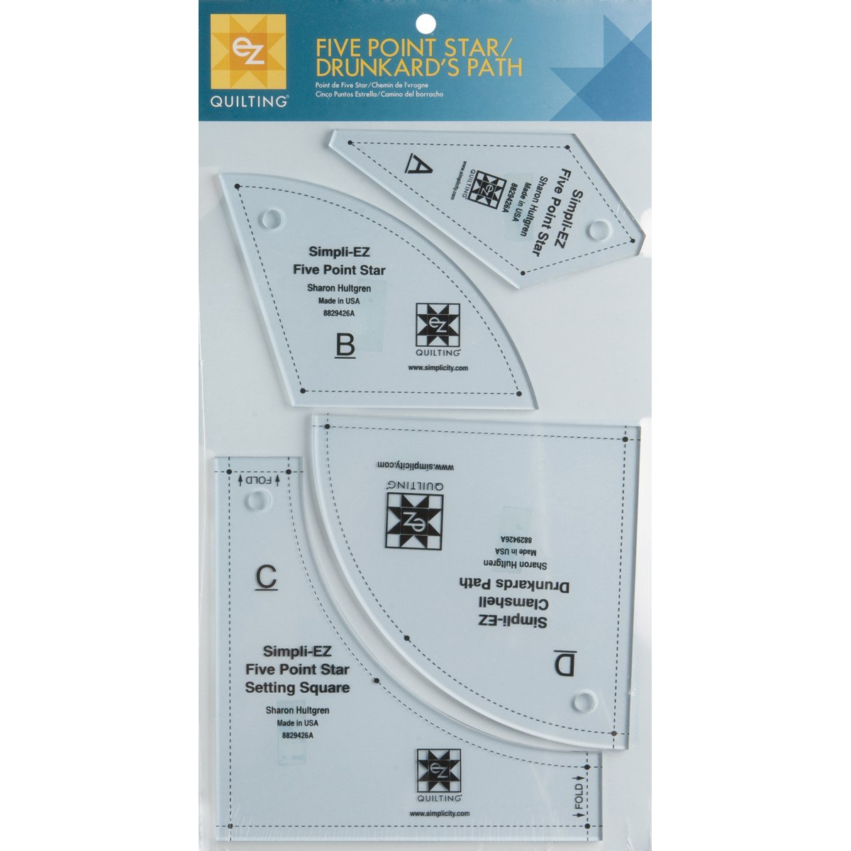 Wrights 8829426A Five Point Star/Drunkard's Path Template, 4-Pack Notions - In Network