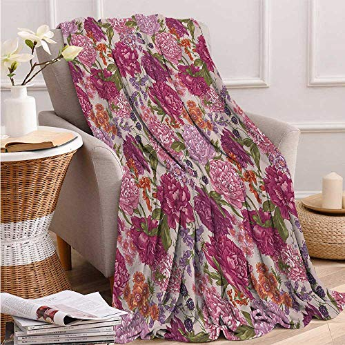 Shabby Chic, Throw Blanket Teen Girl, Peonies BlackBerry and Wild Flowers in Vintage Style Colorful Nature Theme, Soft Throw Blanket, 80x60 Inch Multicolor