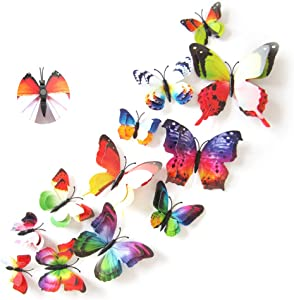 Jahosin 3D Butterfly Wall Stickers Fridge 12 PCS PVC Waterproof Refrigerator for Wall Decor Art Crafts Home Party Room Decoration Art Kids Room Bedroom Decor (12pcsrainbow)