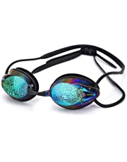 Fuchuang Swimming Goggles, Anti-Fog Swim Goggles with Clear Vision for Adult Men Women Junior Kids, Non Leak UV Protection, Free Goggle Case and 3 Nose Pieces, Colorful Goggles Mirror