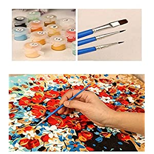 Morgofun DIY Painting Paint by Numbers for Adults Beginner, Paint by Number Kit Colorful Wolf DIY Painting with Brushes 16x20inch (Wolf)