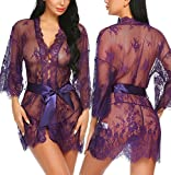Avidlove Women's Lace Kimono Robe Babydoll Lingerie Mesh Nightgown Purple M