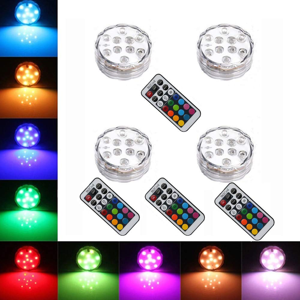 StillCool Submersible LED Lights, Waterproof Multi Color Underwater Lights with Remote Battery Operated LED Decorative Lights for Lighting Up Vase,Fish Tank,Wedding,Halloween,Christmas (4Pack)
