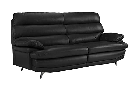Divano Roma Furniture Classic Real Leather Sofa Couch (Black)