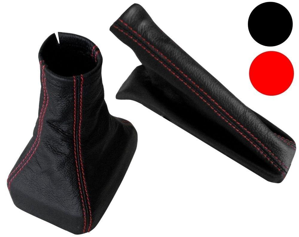 AERZETIX - Soufflet de Levier Vitesse Frein à Main en Cuir véritable Couture Rouge 3800946188643