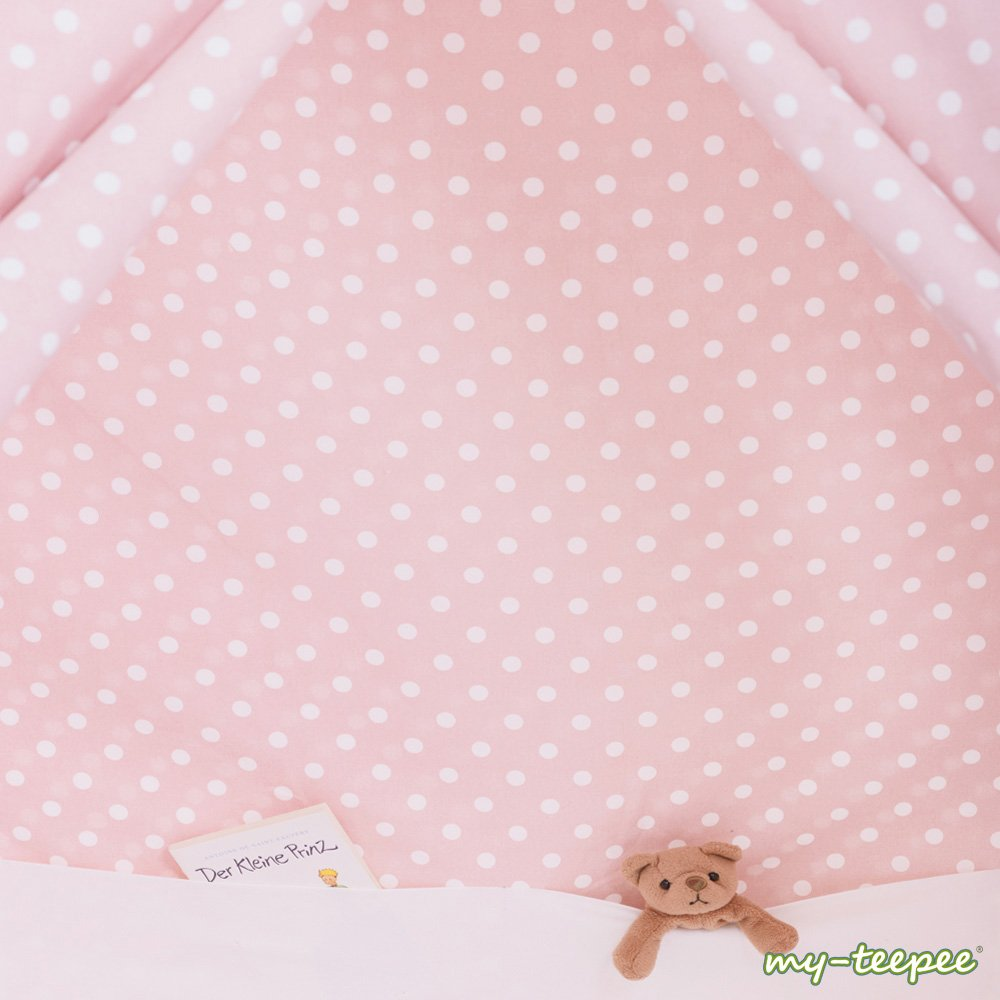 my-teepee Play Tent MT01ro, Made in Germany, Natural Materials, Wooden Sticks From Aspe, Cover 100% Cotton, Oekotex 100, Height 4.9 ft. (150 cm), Lockable Window, Colour: Rose With White Points