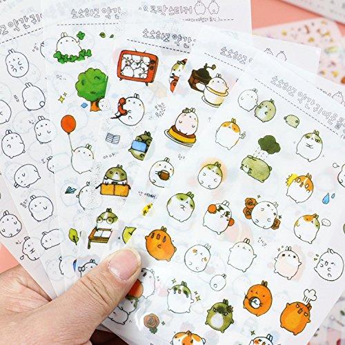Appunti di Viaggio Hacoly 6 Fogli Coniglio Rotondo Scrapbook Stickers diario della Carta Bello Adesivi Planner Sticker Diario Cartoline,Decorazione per DIY-2
