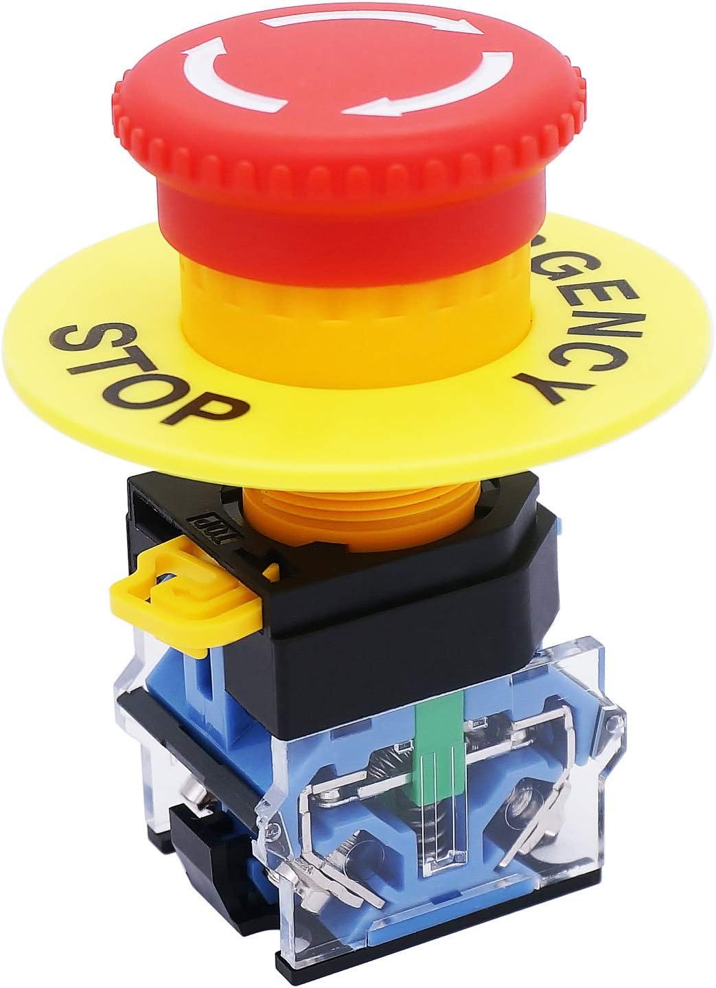 TWTADE/Red Lamp Self Locking Emergency Stop Mushroom Switch Push ...