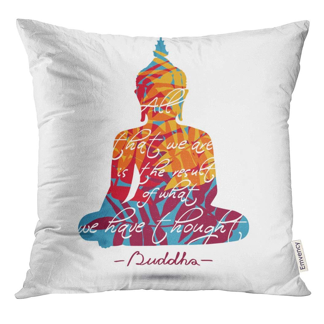 Golee Throw Pillow Cover Yoga Sitting Buddha Silhouette with White Asian Faith Decorative Pillow Case Home Decor Square 16x16 Inches Pillowcase