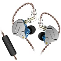 KZ ZSN Pro Dynamic Hybrid Dual Driver in Ear Earphones Detachable Tangle-Free Cable Musicians in-Ear Earbuds Headphones (Blue with Microphone)