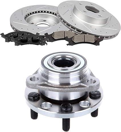 Front Brake Rotors And Pads /& Hub Bearings For Grand Am Cavalier Sunfire Skylark