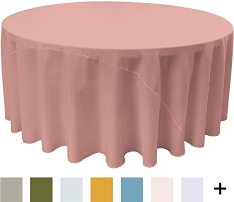 LA Linen Polyester Poplin Round Tablecloth, 120 Inch, Dusty Rose