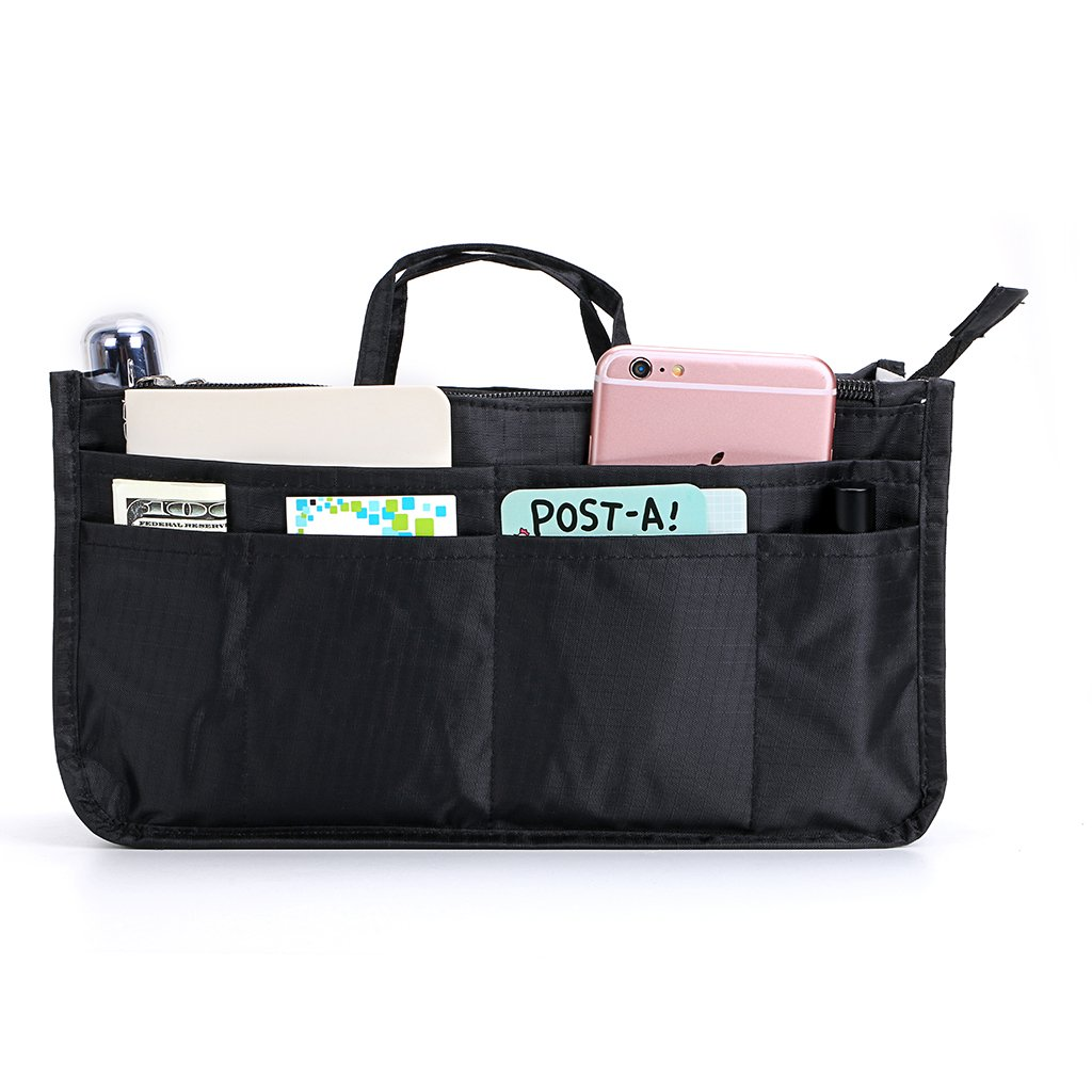 BTSKY Printing Handbag Organizers Inside Purse Insert - High Capacity 13 Pockets Bag Tote Organizer with Handle (Black)