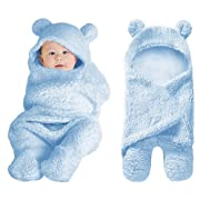 XMWEALTHY Cute Baby Items Newborn Plush Nersery Swaddle Blankets Soft Infant Girls Clothes Light Blue