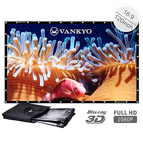 VANKYO 120 inch 16:9 High Contrast Collapsible PVC HD 4K Portable Front Projection Projector Screen with Hanging Hole Grommets for Home Indoor and Outdoor Movie Match Party