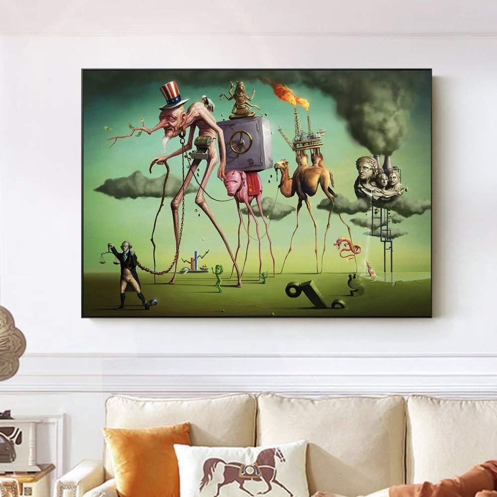 50x70cm sans Cadre peintures murales pour Le Salon peintures sur Toile wmyzfs Le r/êve am/éricain de by Salvador Dali Art Mural reproductions de Tableaux c/él/èbres