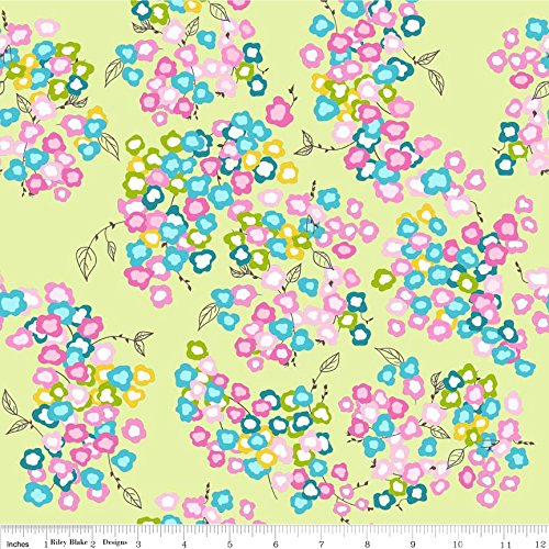 Chelsea Square Comforter - 1 Yard Floriography by Pink Fig Design Chelsea Anderson from Riley Blake C3942 Green 100% Cotton Quilt Fabric
