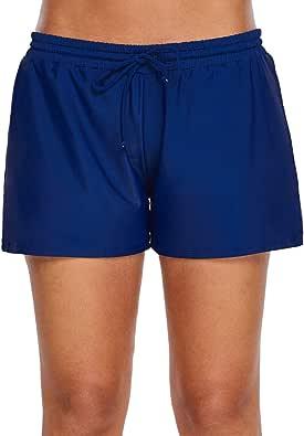 Aleumdr Womens Side Split Waistband Swim Shorts Panty Liner Plus Size S - 3XL