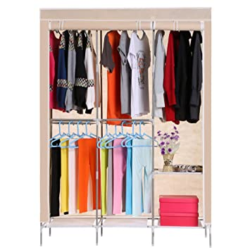 Anfan Clothes Closet Portable Wardrobe Clothes Storage Rack with Shelves  Fabric Cover (Coffee) (