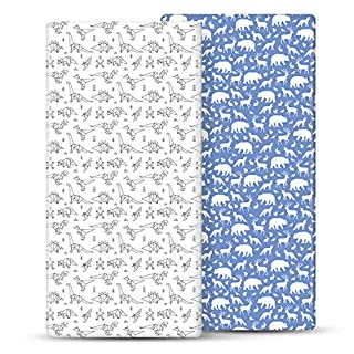 "Momcozy Crib Sheets, Fitted Crib Sheet for Boys Girls, 2 Pack Breathable Cozy Baby Sheet, Crib Sheet Set Fits Standard Crib & Toddler Mattress, 28""x 52""x 9"""