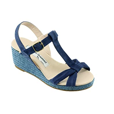 624f8b47d YVES DE BEAUMOND Judith Wedge Sandals Lightweight and Stable Women s Shoes  Small Sizes Brand Suede Leather Ocean Blue Blue Size  9 UK  Amazon.co.uk   Shoes   ...