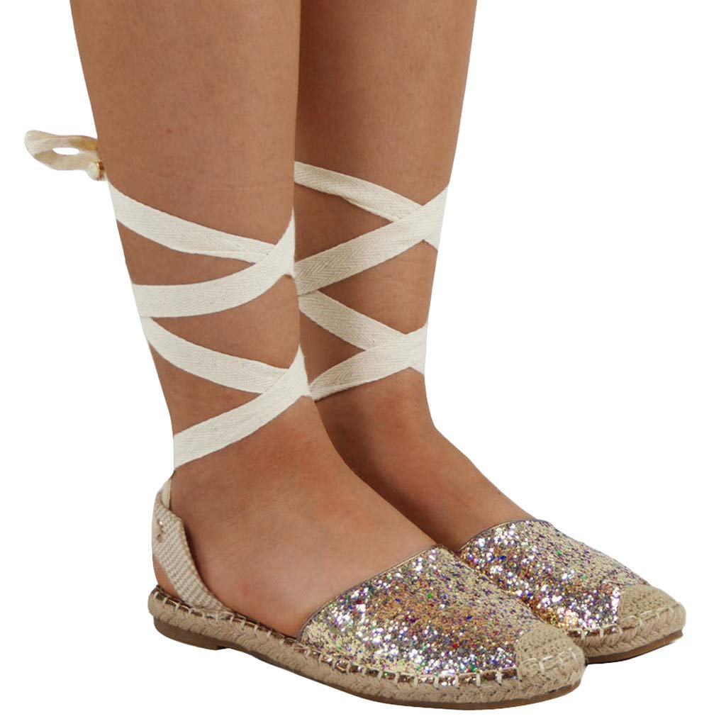 SFE Women Straw Round Toe Flat Sequin Shoes Cross Strap Rome Style Sandals Fashion Summer Casual Sandals for Women