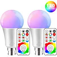 iLC LED Colour Changing Light Bulb with Remote Control RGBW Bayonet - 120 Different Color RGB Daylight and White Dimmable Coloured – B22 Cap Type for Decoration Parties & More (2 Packs)