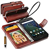 N+ INDIA Motorola Moto G5 Plus Rich Leather Stand Wallet Flip Case Cover Book Pouch / Quality Slip Pouch / Soft Phone Bag (Specially Manufactured - Premium Quality) Antique Leather Case With Mini Touch Stylus Pen Brown For Motorola Moto G5 Plus