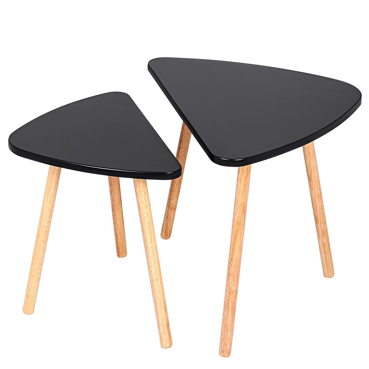 Utheing Nesting Tables Set of 2, Wooden Waterproof Small Coffee End Tables, Triangle Shape, Black
