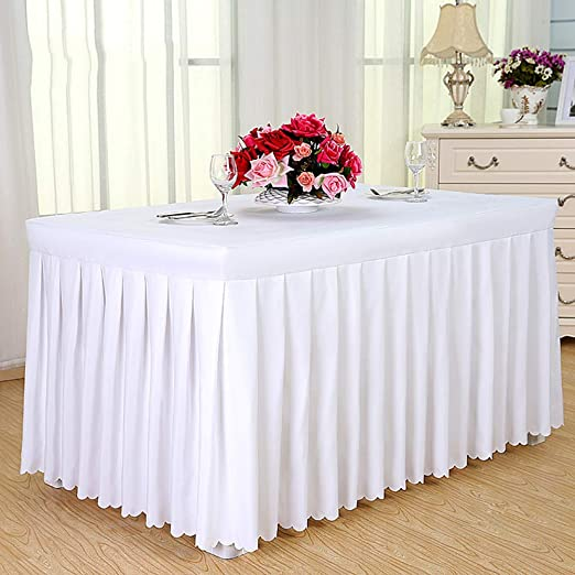 Amazon Com Batsdcb Solid Color Rectangular Tablecloth Hotel Conference Business Table Skirts Blended White 120x40x75cm 47x16x30inch Kitchen Dining