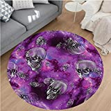 Nalahome Modern Flannel Microfiber Non-Slip Machine Washable Round Area Rug-or Horror Movie Themed Flying Skull Heads Halloween in Outer Space Image Black and Purple area rugs Home Decor-Round 63''