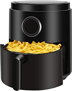 R.W.FLAME Air Fryer 5.3QT,Electric Stainless Steel Hot Air Fryer,LED Display,Timer & Temperature Setting,Unfreeze&Appointment,ETL GS CE CB Certificated,Black,1400W