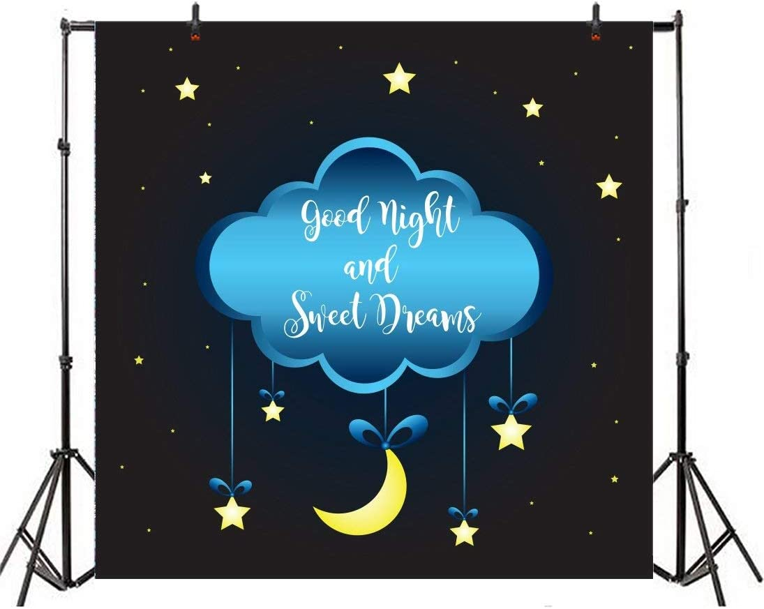 GoEoo 5x5ft Baby Dream Backdrops Night Skyline Cloud Comic Hanging Twinkle Stars Moon Background Cloth for Photography Baby Newborn Infant Events Party Photo Booth Props