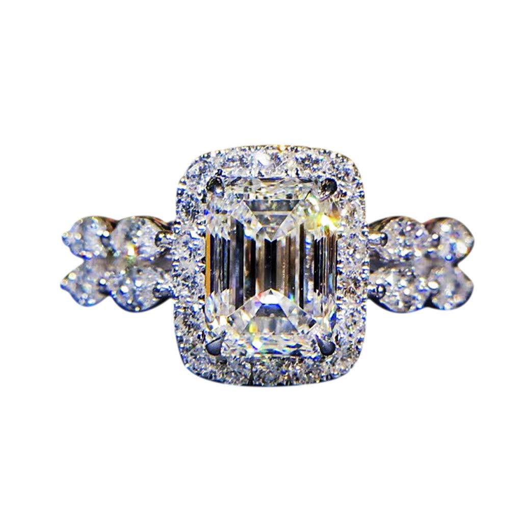 Coco-Z New Temperament Square Diamond Ring Marriage Proposal Shaped Diamond Female Ring, Overseas Import Products Specialty Store
