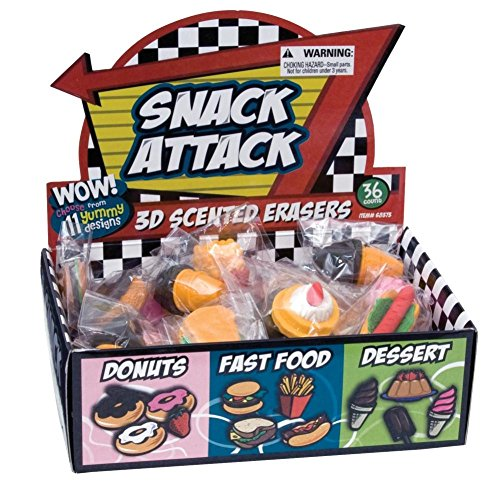Raymond Geddes Snack Attack 3D Scented Eraser Display, 36 Pack (68373) -