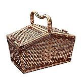 HARRA HOME Handmade Deluxe Rattan Wicker Picnic Basket Hamper
